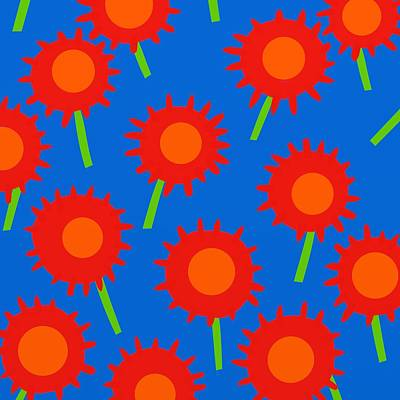 Fuschia Mixed Media - Mod Spiky Flowers by Marlene Kaltschmitt