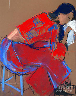 Fauvist Painting - Model #3 - Woman Wiping Her Face - Figure Series by Mona Edulesco