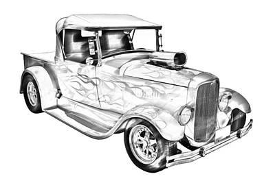 Customized Digital Art - Model A Ford Pickup Hotrod Illustration by Keith Webber Jr