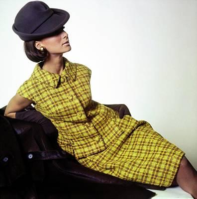 Photograph - Model A Plaid Dress by Horst P. Horst