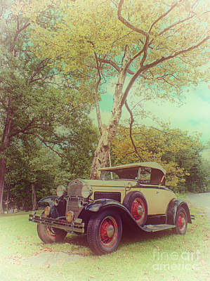 Photograph - Model A Roadster - Colorized Version by Mark Miller