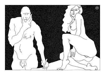 Model And Artist 18 Print by Leonid Petrushin