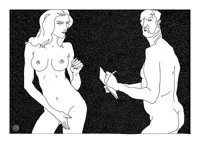Model And Artist 19 Print by Leonid Petrushin