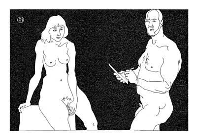 Model And Artist 2 Art Print by Leonid Petrushin