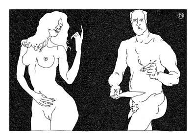 Naked Digital Art - Model And Artist 8 by Leonid Petrushin