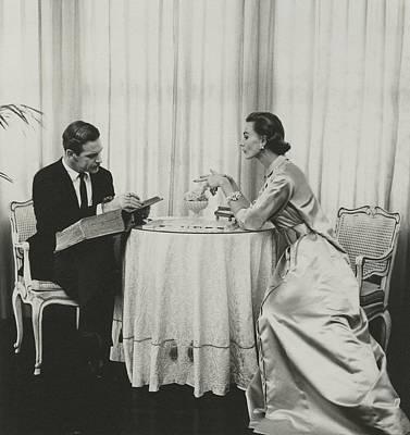 Model And Peter Pagan Looking At A Dictionary Art Print