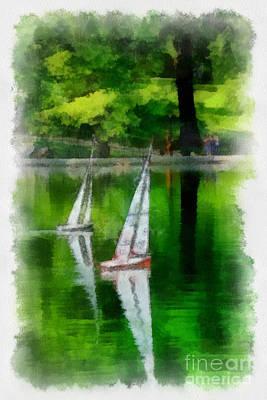 Sailboat Digital Art - Model Boat Basin Central Park by Amy Cicconi
