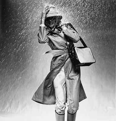 Raincoat Photograph - Model Caught In Heavy Rain Wearing Valentino by Chris von Wangenheim