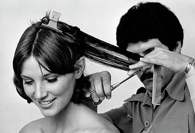 Dresser Photograph - Model Getting A Haircut by William Connors