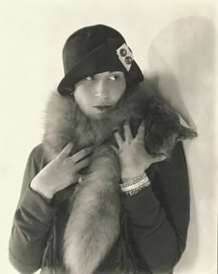 Silver Photograph - Model Halles Stiles Wearing A Agnes Hat And Fox by Edward Steichen