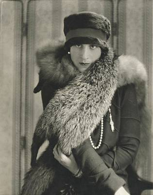 Model Halles Stiles Wearing A Rabbit Fur Hat Art Print