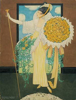 Model Holding A Bouquet Art Print by George Wolfe Plank