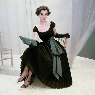 Cross Legged Photograph - Model In A Black Pleated Skirt by Frances McLaughlin-Gill