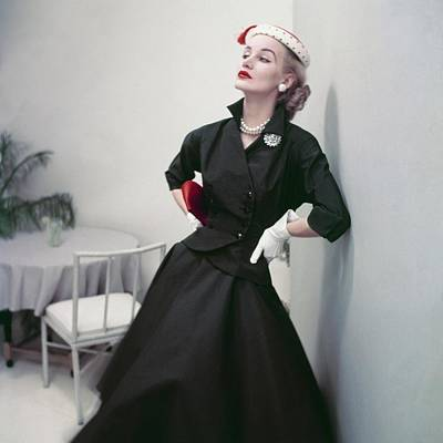 Full Skirt Photograph - Model In A Black Suit by Frances McLaughlin-Gill