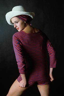 Model In A Blue And Red Striped Top And Matching Art Print