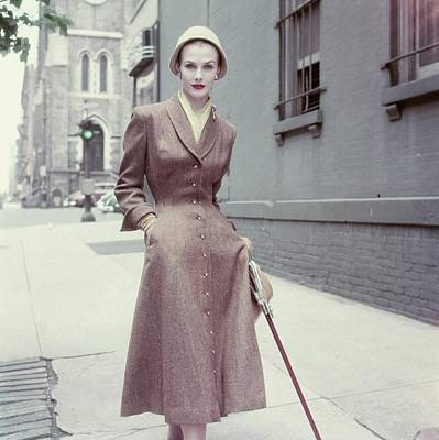 Winter Scene Photograph - Model In A Brown Coat Dress by Frances McLaughlin-Gill