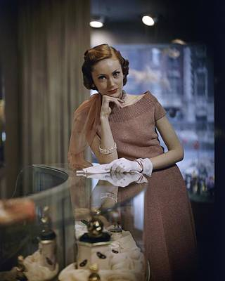 Brown Earrings Photograph - Model In A Knit Dress At Dorothy Gray Salon by Frances McLaughlin-Gill