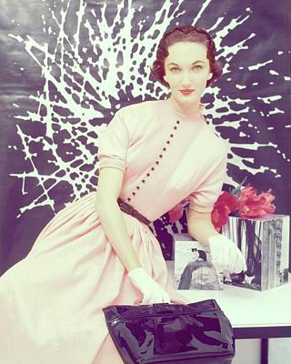 Leather Purses Photograph - Model In A Pink Rayon Dress by Clifford Coffin; Frances McLaughlin-Gill