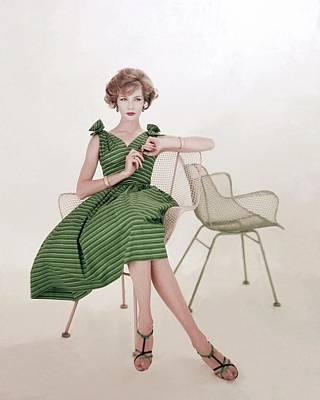 Cross Legged Photograph - Model In A Striped Dress By Rhea by Karen Radkai