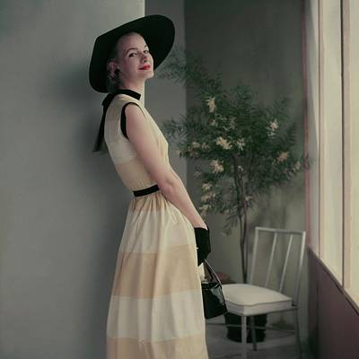 Leather Purses Photograph - Model In A Striped Dress by Frances McLaughlin-Gill