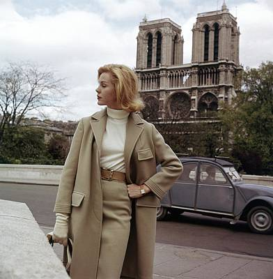 Winter Scene Photograph - Model In A Wool Suit By Modelia At The Notre-dame by Frances McLaughlin-Gill