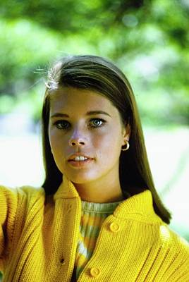Earrings Photograph - Model In A Yellow Cardigan by William Connors