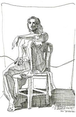 Model In Chair Art Print by John Brown