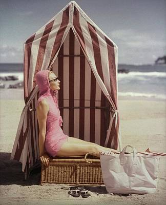 Bathing Suit Photograph - Model In Pink Swimsuit With Tent On Beach by Louise Dahl-Wolfe