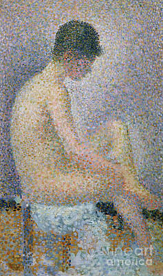 Technique Painting - Model In Profile by Georges Pierre Seurat