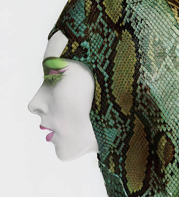 Photograph - Model In Snakeskin Hood by Bert Stern