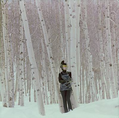 Photograph - Model In Snow Among Birch Trees by Henry Clarke