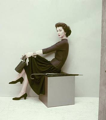 Cross Legged Photograph - Model In Wool Jersey Skirt And Shirt by Frances McLaughlin-Gill