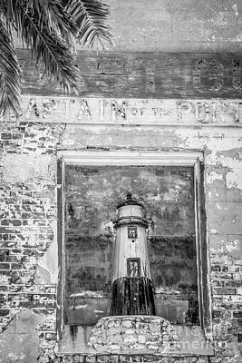 Brickwork Photograph - Model Key West Lighthouse In Old Brickwork - Black And White by Ian Monk