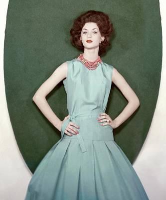 Model Leferre Posing In A Blue Dress Art Print