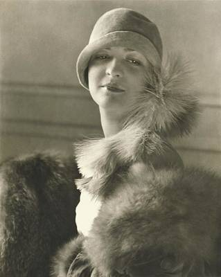 Cloche Hat Photograph - Model Louba Kainarsky Wearing A Felt Hat And Fur by Edward Steichen