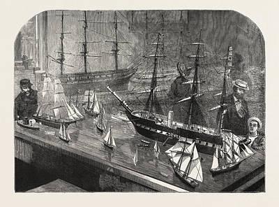 Model Of A Fleet Of Vessels On The Philadelphia Exhibition Art Print by American School