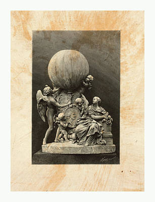Historic Statue Drawing - Model Of A Statue Dedicated To French Balloonists by English School
