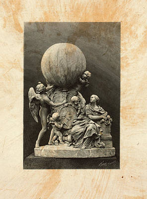 Statue Portrait Drawing - Model Of A Statue Dedicated To French Balloonists by Litz Collection