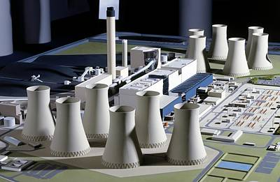 Model Of Coal-fired Power Station Art Print
