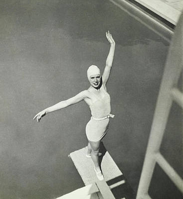 Photograph - Model On A Diving Board In Bvd Swimsuit by George Hoyningen-Huene