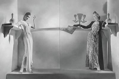 Model On Left Wearing A Dinner Dress Art Print