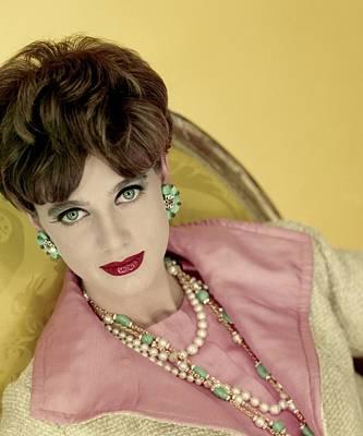 Photograph - Model Paule Rizzo Wearing Chanel  Beads by Henry Clarke