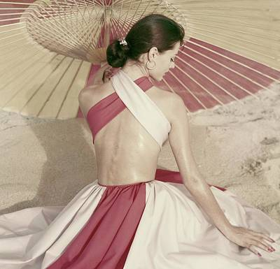 Earrings Photograph - Model Sitting Underneath A Parasol by Frances McLaughlin-Gill