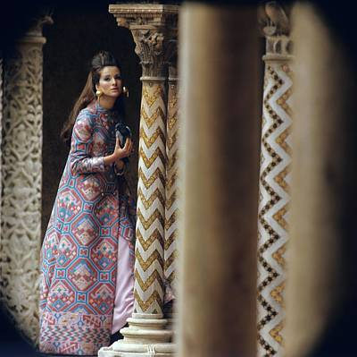 Model Stands Beside A Mosaic Column Wearing Art Print