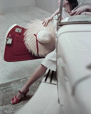 High Fashion Photograph - Model Stepping Out Of Car by Frances McLaughlin-Gill