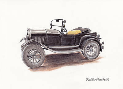 Ford Model T Car Drawing - Model T.  by Heather Stinnett