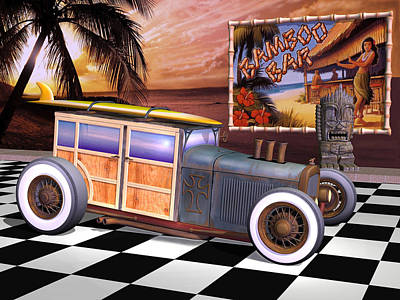 Rat Rod Digital Art - Model T Surf Woody by Stuart Swartz