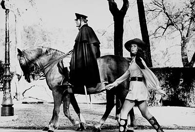 Police Officer Photograph - Model Walks Along With A Horse In The Piazza Di by Henry Clarke