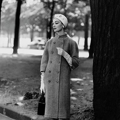 Photograph - Model Wearing A Balenciaga Coat by Henry Clarke