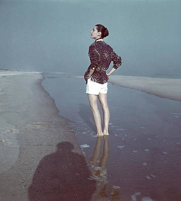 Model Wearing A Batik Shirt On A Beach Art Print by Serge Balkin